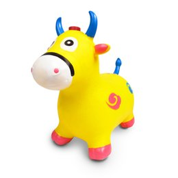 Large horse toys online shopping - The new material of children music jumping deer jumping horse large thick animal inflatable toy rocking horse children inflatable cow