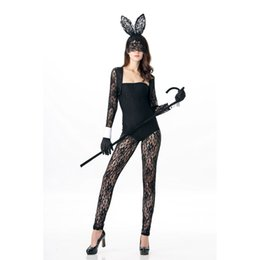 Rabbit Woman Costumes UK - Fantasia Halloween Cosplay Costume Black Lace Hollow Out Bunny Jumpsuit 4 Pieces Sexy Women Rabbit Outfits Stage Performance A417038