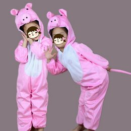 Costumes De Porcs Filles Pas Cher-Nouveauté Garçon Filles Animaux Costume Enfants Rose Cochon Dessin Animé Cosplay Vêtements Combinaisons Hallowmas Costume Carnaval Performance Déguisements