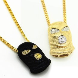 Drops Hip Jewelry Canada - 3 Style Hip Hop Stainless Steel Crystal Mask Pendant Chain Inlaid Rhinestone Necklace CS Mask New Jewelry Support FBA Drop Shipping J13S