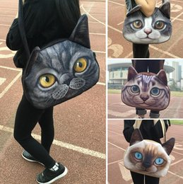 Face tote online shopping - 3D cat face female handbag Messenger bag animal canvas shoulder bag face CAT Shoulder Bag Tote Handbag LJJK808