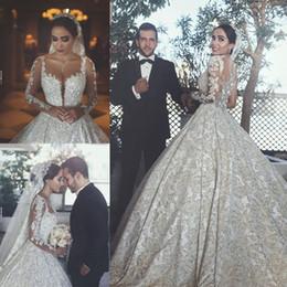 Tulle Jewel Neckline Wedding Dress Canada - 2018 Sheer Tulle Long Sleeves Wedding Dresses Beaded Appliques Jewel Neckline Bridal Ball Gowns Floor Length Custom Made Wedding Gown
