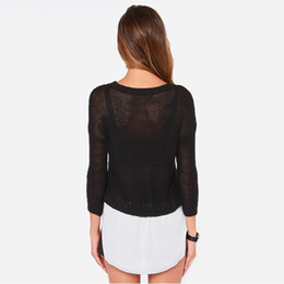 a4828d0c8 AmericAn AppArel tops online shopping - HDY Haoduoyi Apparel Black Semi  Sheer Knitted Sexy Women Sweaters