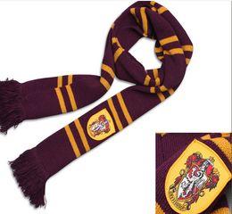 Ingrosso Harry Potter Serpeverde Grifondoro Corvonero Tassorosso Addensare Sciarpa di lana Morbido Caldo Grande Halloween Costumi Cosplay Autunno Inverno Sciarpe
