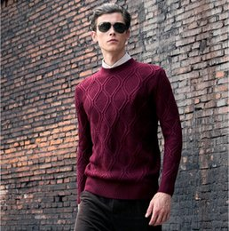 Sweat Homme En Angleterre Pas Cher-Wholesale-2016 AutumnWinter New Aperçu Angleterre Style Hommes Solides O-Pull pull Sweater Silm ajusté à manches longues Pull en tricot Hombre