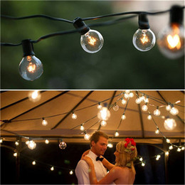 Discount led christmas lights - Black 10M 20sockets+ 4m Lead Wire Globe G30 G40 G50 String Light Cables with Fuse Christmas Wedding Dancing garland Wate