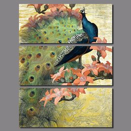 life size pictures Australia - Big size 3pcs decoration peacock forest birds wall art picture flower tree colorful Canvas Painting for living room unframed