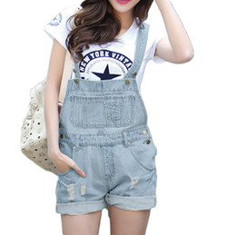 Femme Bleu Pâle Pas Cher-Nouvelles 2016 S-XL de qualité supérieure Femmes Filles Washed Jeans Denim Casual Trou Jumpsuit Romper Salopette Light Blue Jeans Shorts Pantalons