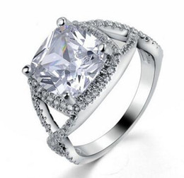 white gold celtic rings Canada - 2.00CT Cushion-Cut Delicated Lad Diamond Halo Engagement Ring 10k White Gold Filled