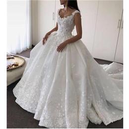 luxury romantic wedding dresses 2019 - New Design Ball Gown Luxury Princess Wedding Dresses V Neck Princess Open Back Bridal Romantic Custom Made Lace Satin Ho