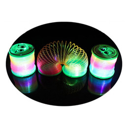 Toys Rainbow Circle Canada - Kids Fancy Classic Toys LED Flashing Rainbow Spring Plastic Round Rainbow Circle Colorful Toy Gift For Children Birthday Party Supplies