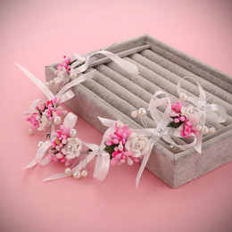 Handmade Bow Tiara Canada - Bridal Wedding Handmade Pearls Colorful Flowers Ribbon Bow Headdress Bridal Crown Pearls Colorful Flowers Bridal Tiaras Jewelry Accessories
