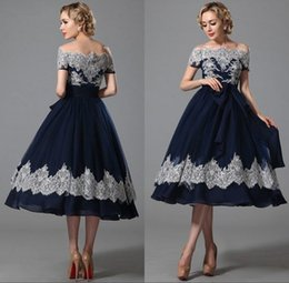 Barato Vestidos Elegantes Do Chiffon Do Comprimento Do Joelho-2017 Elegant Navy Blue Ball Gown Prom Dresses Lace Bateau Neck Knee Length Zipper Páginaant Part Dresses