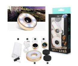 Cellphone Selfie Canada - Flash LED Light 6 In 1 Clip Fish Eye Lens Macro Wide Angle Selfie Lens CellPhone Lens For iPhone 6 SE Samsung