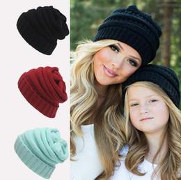 Baby Boy Skull Crochet Beanies Canada - Newest Parent-Child CC hats Baby Mum Wool Beanie Winter Knitted Hats Warm Hedging Skull Caps Hand Crochet Caps Hats