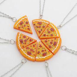 Pizza Necklace Canada - Wholesale-7pcs  set Pizza Pendant Necklaces  keychain alloy  rope Friendship Necklace for man women Best Friends gifts wholesale