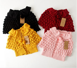 Girls Cape Sweater Canada - Free DHL 2016 Autumn Winter Girls Knitted Cardigan Sweaters Children Pineapple Capes Shawls Kids Ruffles Jackets Outwear Girl Poncho Coats