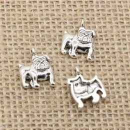 Dog Plates Australia - Wholesale 90pcs Charms Tibetan Silver Plated dog pug bulldog 17*13mm Pendant for Jewelry DIY Hand Made Fitting