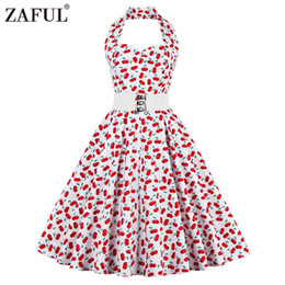Chinese  Wholesale- ZAFUL Red Vintage Women Dress Summer Feminino Rockabilly Pin up Plaid Floral 50s 60s Sleeveless Dresses Vestidos Plus Size manufacturers