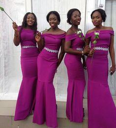 NigeriaN lace short dresses online shopping - Nigerian Wedding Guest Formal Maid of Honor Dress Sheath Off Shoulder Purple Lace Floor Length Satin Cheap Vintage Bridesmaid Dresses