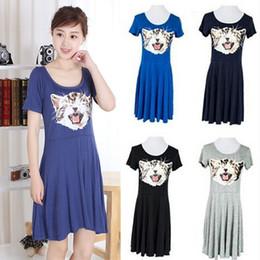 8f1ab555c3 New Hot Good Selling Ladies Women Summer Fashion Casual Cute Cat  Short-sleeved Modal Irregular Dress One Size 2327