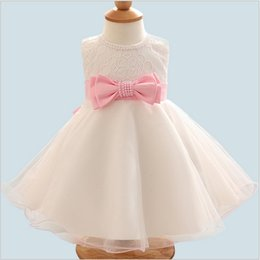 $enCountryForm.capitalKeyWord NZ - 2018 new summer baby dress white red bow mesh princess ball gown pearl beading infant baby dress girl wedding clothes dresses