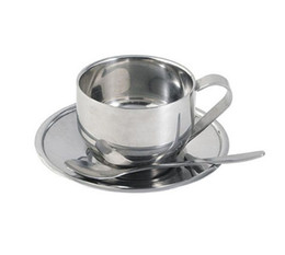 Heating belts online shopping - Coffee Cup Belt Spoon And Plate Multi Function Double Deck Heat Insulation Cups Stainless Steel High Grade Gift For Friends ct J