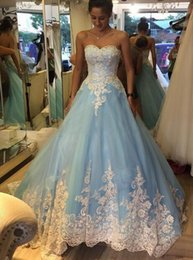 Discount luxury romantic wedding dresses - 2016 Newest Luxury Wedding Dresses With Sweetheart Light Blue White Lace Sweep Train Lace Romantic Customed Bridal Gowns