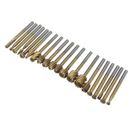 titanium cutter NZ - 20Pcs Titanium Coated Rotary File Cutters HSS Mini Burr Woodworking Milling Carving Rasp Drill Bits