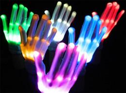 Venta al por mayor de Guantes LED intermitentes Cosplay guantes de la novedad llevó la luz del juguete Guantes de destello para el lenguaje de señas Fiesta de Navidad de Halloween Decoración Luz D884