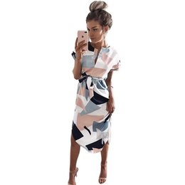 Entreprise Plus Mince Taille Pas Cher-Nouvelle robe d'été Femmes imprimées Vestidos Sexy V-Neck Cinch Waist Slim Work Dress Casual Office Business Robes WS221Y