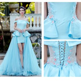 $enCountryForm.capitalKeyWord Canada - 2017 Fashion Pink light blue Evening Dress strapless hi-lo Long Sheath Flowers applique lace tulle satin Prom Party Gown free shpping