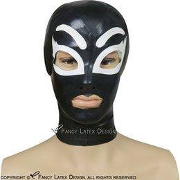 Tt Yellow NZ - Sexy Latex Hood With eyebrow Zip At Back Open Eyes Mouth Nose With White Trims Fetish Rubber Mask Bondage TT-0109