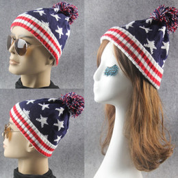 Knitted hat patterns for women online shopping - For Men And Women Skull Caps With Big Hair Balls Jacquard Weave Beanie Star Flags Pattern Wool Knitting Hats Creative lm B