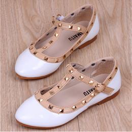 Little Girl Flats Shoes Canada - New Rivets Girl Princess Sandals PU  leather Children Dress Oxford