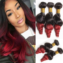 machine wefted hair Australia - Loose Wave Ombre 2 Color Hair Bundles #1B Red Ombre Hair Extension 3Pcs Lot Double Wefted Hair Bundles For Black Woman