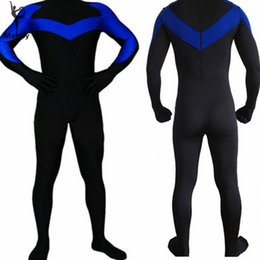 Costume Lycra Spandex Catsuit Unitard Pas Cher-Gros-XXXL Adulte Spandex Lycra Nightwing Party Halloween Costume Bodys Costume Unisexe Peau-Tight Unitard Zentai Dancewear Hoodless