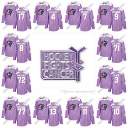 Fights Cancer Practice Columbus Blue Jackets Zachary Werenski Sergei  Bobrovsky Nick Foligno Brandon Dubinsky Jones Johnson Purple Jerseys  foligno jersey ... 5cf32b6b8