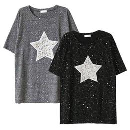 Discount loose shirts design Wholesale- Summer Women Sequined Designed Shiny  Star Short Sleeve T- 7139cb98d26d