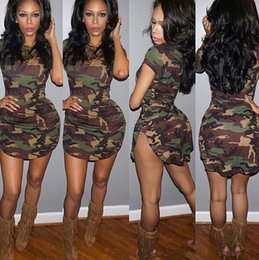 Barato Camuflagem Vestido-New Fashion Women Summer Dress Short Sleeve Sexy Mini A-Line Vestidos Mulher Green Camouflage Print Plus Size
