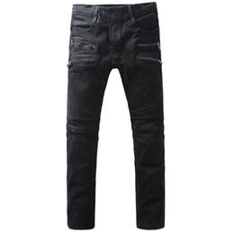 $enCountryForm.capitalKeyWord UK - Men's black double zippers denim biker jeans Fashion slim pencil pants Long trousers YEE33216