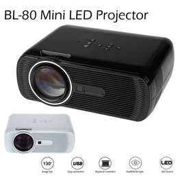 Hd Game Videos Canada - BL-80 Mini Portable LED Projector 1000 Lumens TFT LCD Full HD AV USB SD VGA HDMI For Video Games TV Home Theater Proyector Beamer Free DHL