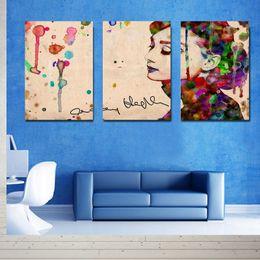 Canvas Print Pieces Australia - 3 Piece Canvas Modern Triptych Wall Painting Watercolor Audrey Hepburn Home Decorative Art Picture Prints on Canvas Prints 24i*16in*3pcs