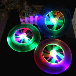 wholesale toy flying ufo 2019 - 100pcs EMS Fly Flash Colorful Spin LED Light Outdoor Toy Flying Saucer Disc Frisbee UFO Kid Outdoor Toys Handmade produc