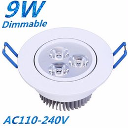 downlights sale NZ - Hot Sales AC 110V 220-240V Dimmable Led 9W Downlights Recessed Lamp 60 120 Angle High Quality 3X3W Cool Warm White Led Ceiling Spotlights