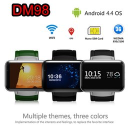 gps wifi smart watch Canada - 3G Android Smart Watch Phone MTK6572 Quad Core DM98 Bluetooth Smartwatch Supports Wifi GPS Sports Watches Wristwatch Smartphone DHL