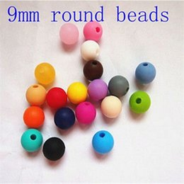 mommy teething necklaces UK - 9mm Round Bead Silicone DIY Loose Beads Pendant Bead  Mommy Silicone Teething Necklace Beads Fits Baby Nursing Necklaces & Bracelets