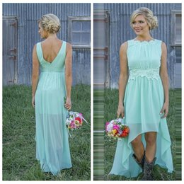 Robes Hautes Belles Vert Pas Cher-Scoop Lace Appliques Waistline High Low Robes de demoiselles d'honneur Cheap Sale Short Mint Green Formal Bridesmaid Party Robes 2017 Honor Of Maid