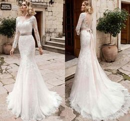 Vintage Vestido De Noiva Bridal Gown Rustic Long Sleeve Mermaid Wedding Dress Women Civil Sexy Lace Applique Backless Dresses 2017