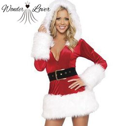 Barato Vestidos De Noiva Senhoras Por Atacado-Atacado-Ladies White Plush Belt Costume Sexy Mrs Miss Hooded Christmas Santa Fancy Dress Costume Outfit W208522B